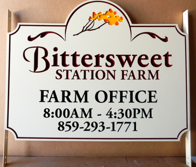 M1624 - Carved Engraved Farm Office Sign with Office Hours and Bittersweet Flower (Gallery 23)