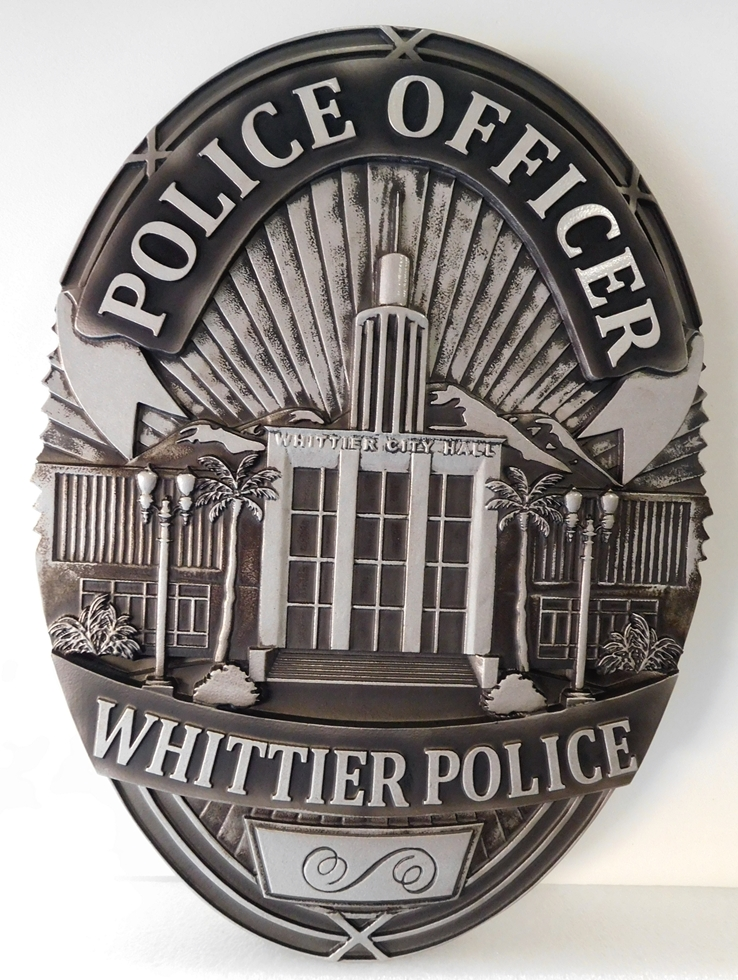 PP-1320 -  Carved Wall Plaque of the Police  Badge of  the City of Whittier, California,  Painted Metallic Aluminum with Hand-rubbed Black Paint