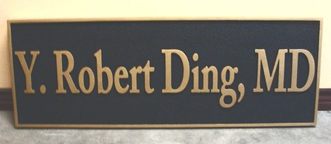 B11024 - Sandstone Texture MD Door Nameplate with Text and Border in Gold Metallic Paint