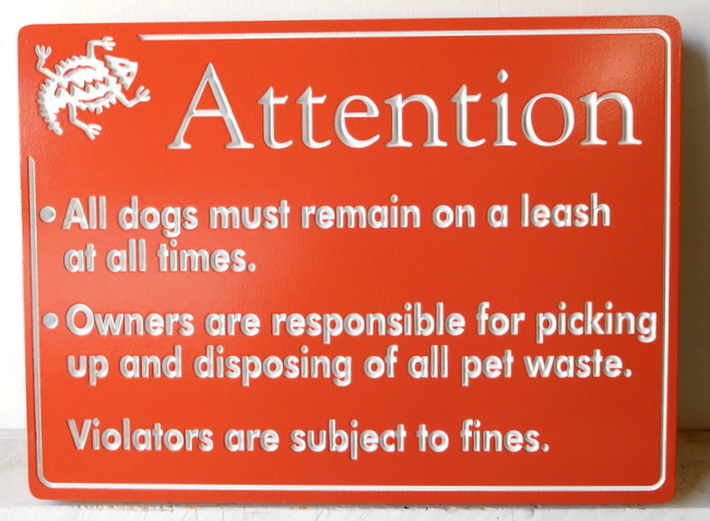 GA16561 - Carved, Engraved, High Density Urethane Sign Giving Rules for Use of Dog Park