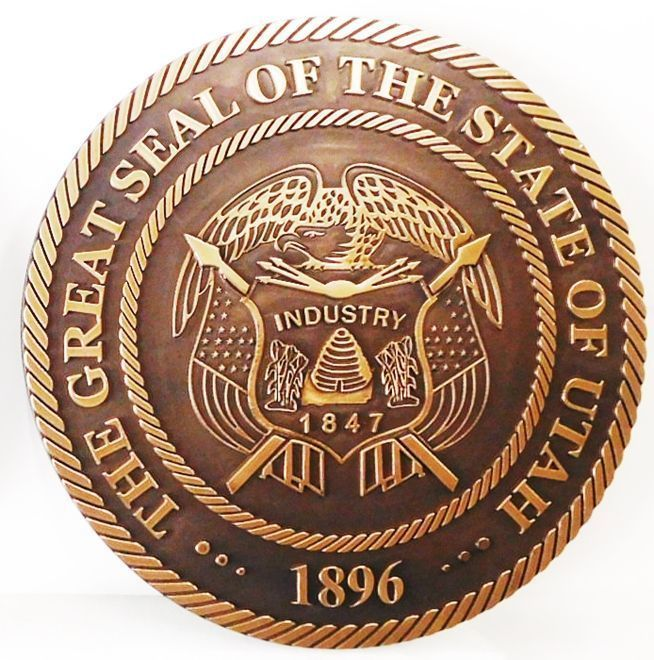 W32493-  Carved  2.5-D HDU Plaque of the Great Seal of the State of Utah