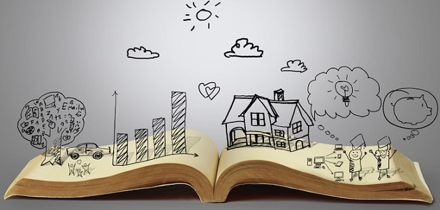 open book laying on white table with hand drawn graphics of trees, buildings, and people
