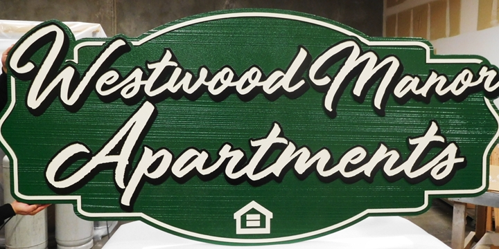 "K20348 - Carved HDU Entrance Sign  for the ""Westwood Manor Apartments:,  with Wood Grain Sandblasted Background"