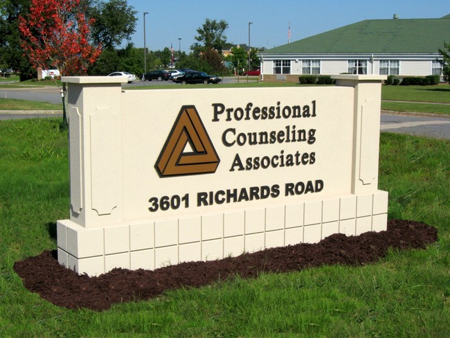 "S28235 - Monument Address Sign for ""Professional Counseling Associates"", with Logo"