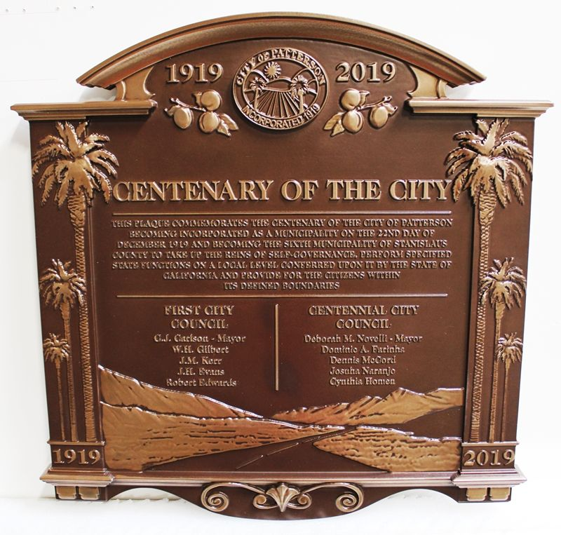 M7009 - Bronze-plated 3D Carved HDU Centenary Plaque for the City of Patterson, California.