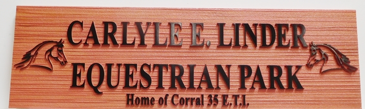 P25333 - Carved and Sandblasted HDU Sign for the Carlyle Linder Equestrian Park, 2.5-D with Horse Heads as Artwork
