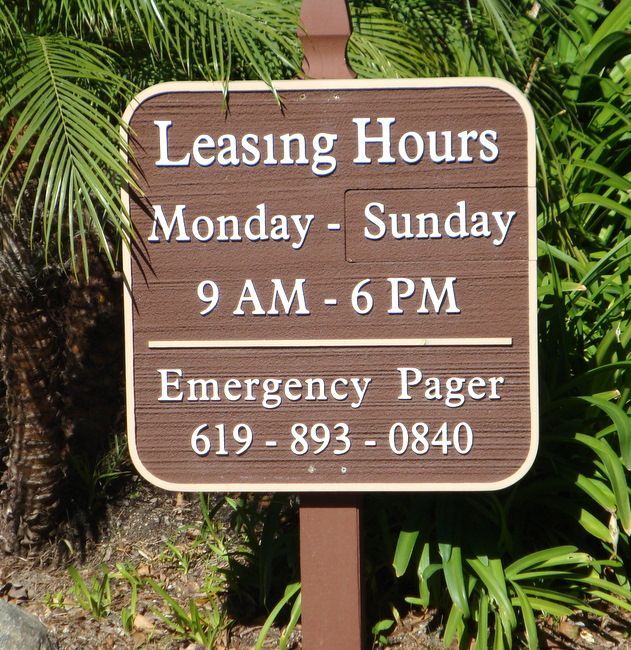 KA20579 - Carved   HDU Sign for Leasing Hours and Days
