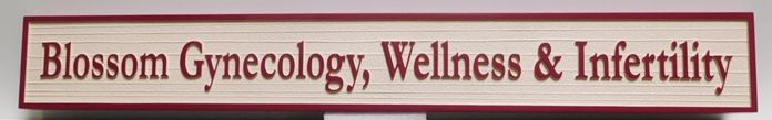 B11087 - Carved in a Wood Grain Pattern, HDU Sign for Gynecology, Wellness and Infertility Medical Clinic.