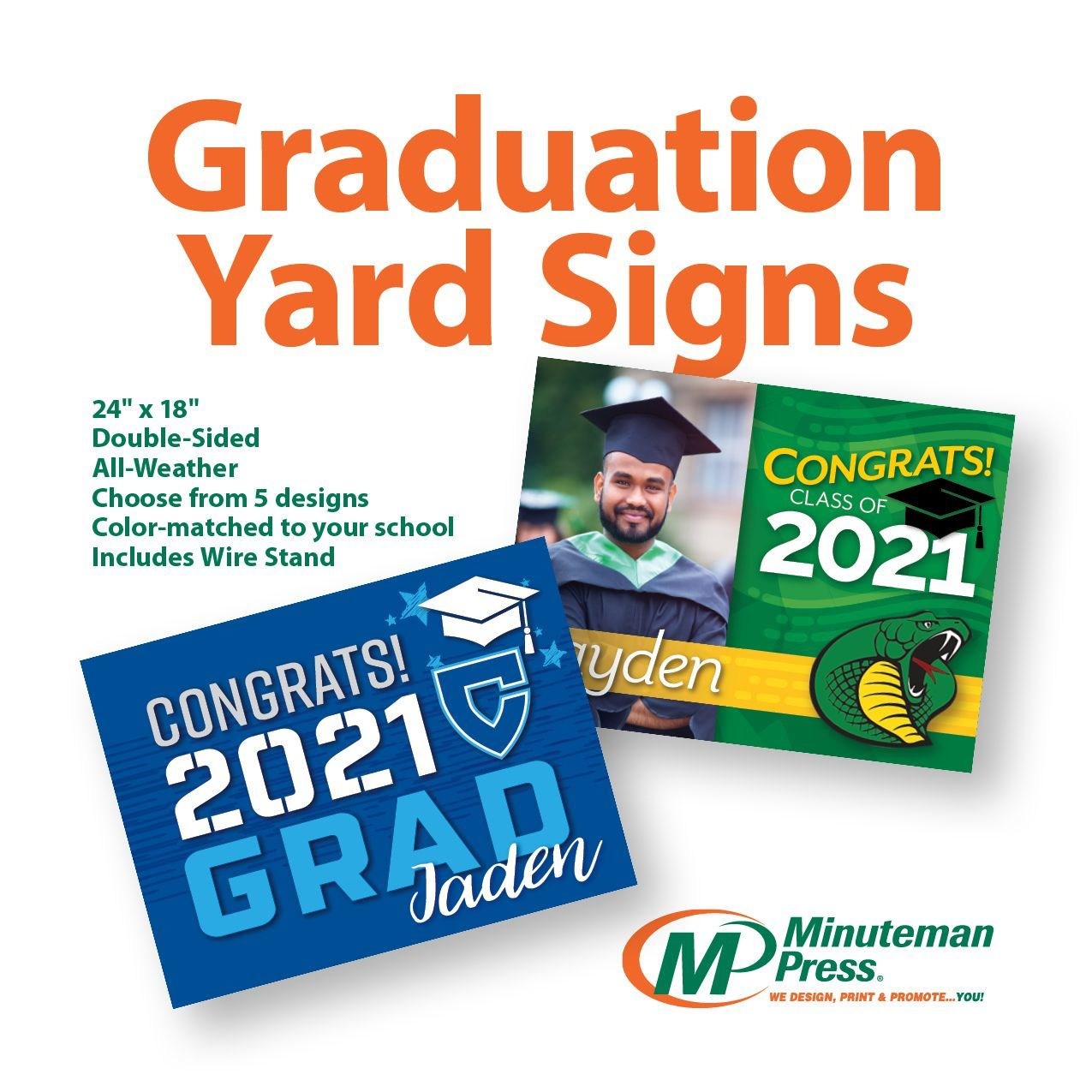 Graduation season is upon us! Celebrate your special graduate with a yard sign customized to their school colors! Choose from our designs with options to personalize. Only $11 standard/$20 for personalized or photo design. Call 217-355-0500 to order.