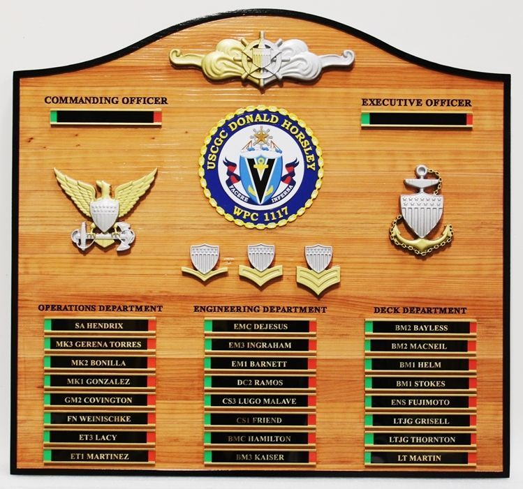 SA-1035- Carved Cedar Wood  Ship's Ship's On-Duty Status Board for the  Coast Guard  Cutter Donald Horsley