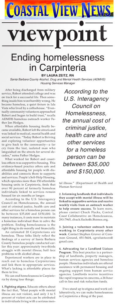 Ending Homelessness in Carpinteria - Coastal View News