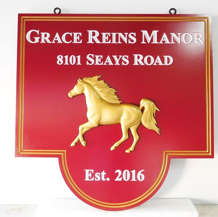 P25330 - Manner House Sign  with Gold-Leaf Stallion Running with Gold-Leaf  Borders