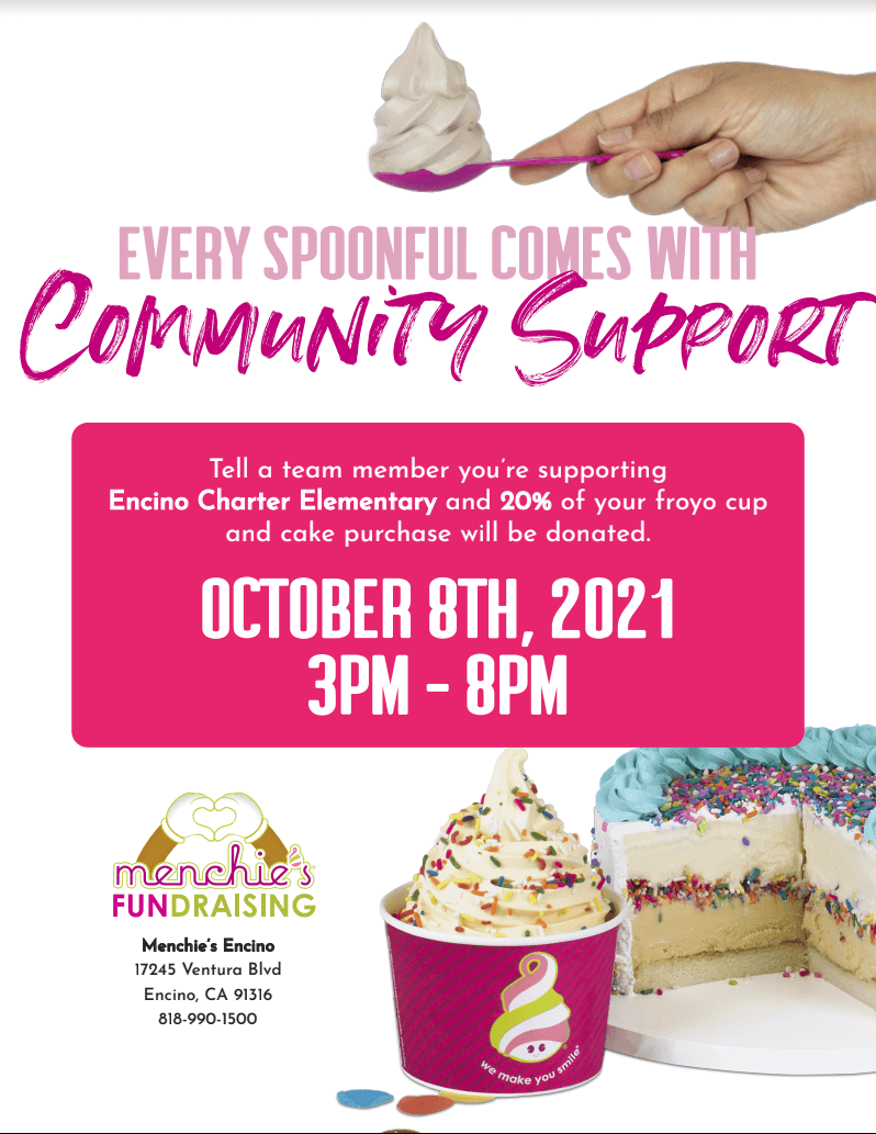 Our next restaurant fundraiser will be Menchies on Friday October 8th.  Save the date and grab a sweet treat after school!