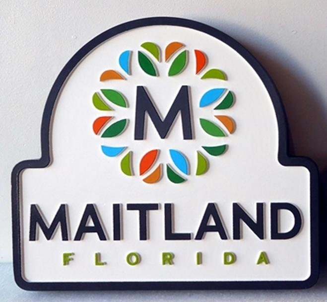 DP-1645- Carved Plaque of the Seal of the City of Maitland, Florida,  Artist Painted