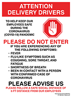 """24"""" x 18"""" Attention Delivery Drivers Metal Sign"""