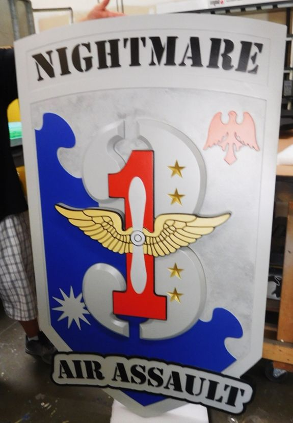 "MP-2068 - Carved Plaque of the Insignia of a US Army Air Assault Unit ""Nightmare"", 2.5D Artist Painted"