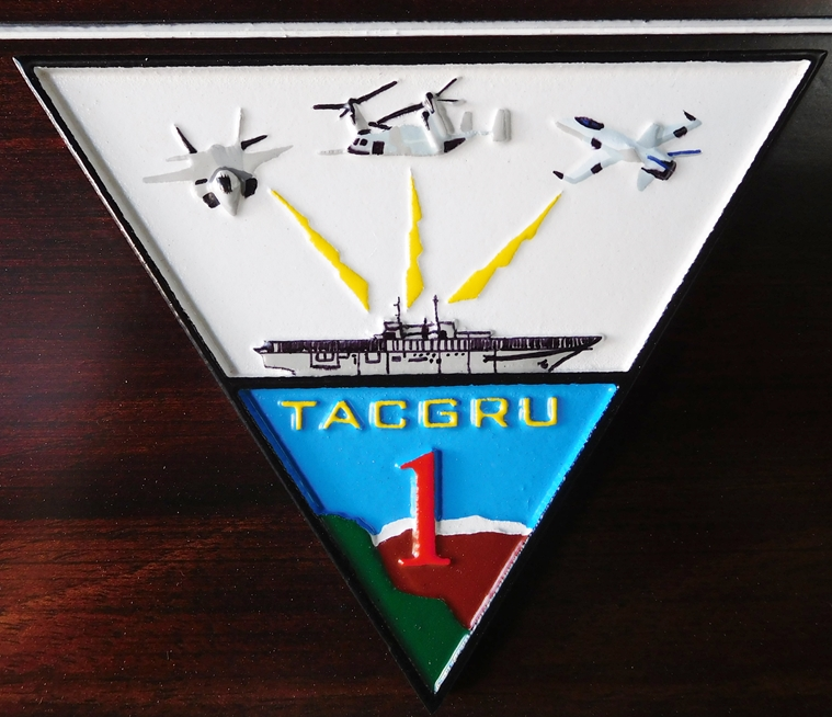 V31262 - Close-up of Carved 3-D HDU TACGRU ONE Crest/Logo, with Carrier and Aircraft
