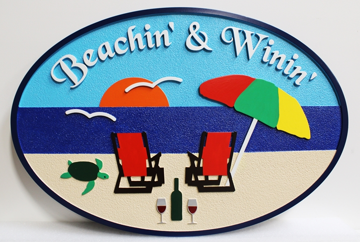 """L21015 - Carved HDU Beach Sign with Two Chairs facing Ocean, Turtle and Wine Bottle, """"Beachin' & Winin'"""
