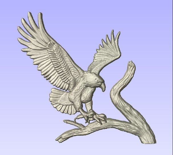 M2991 - Carving of Eagle Landing on Branch, Silver (Al) Leaf (Gallery 21)