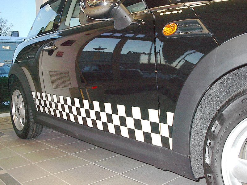 2011 MINI Cooper Black with White Checkers