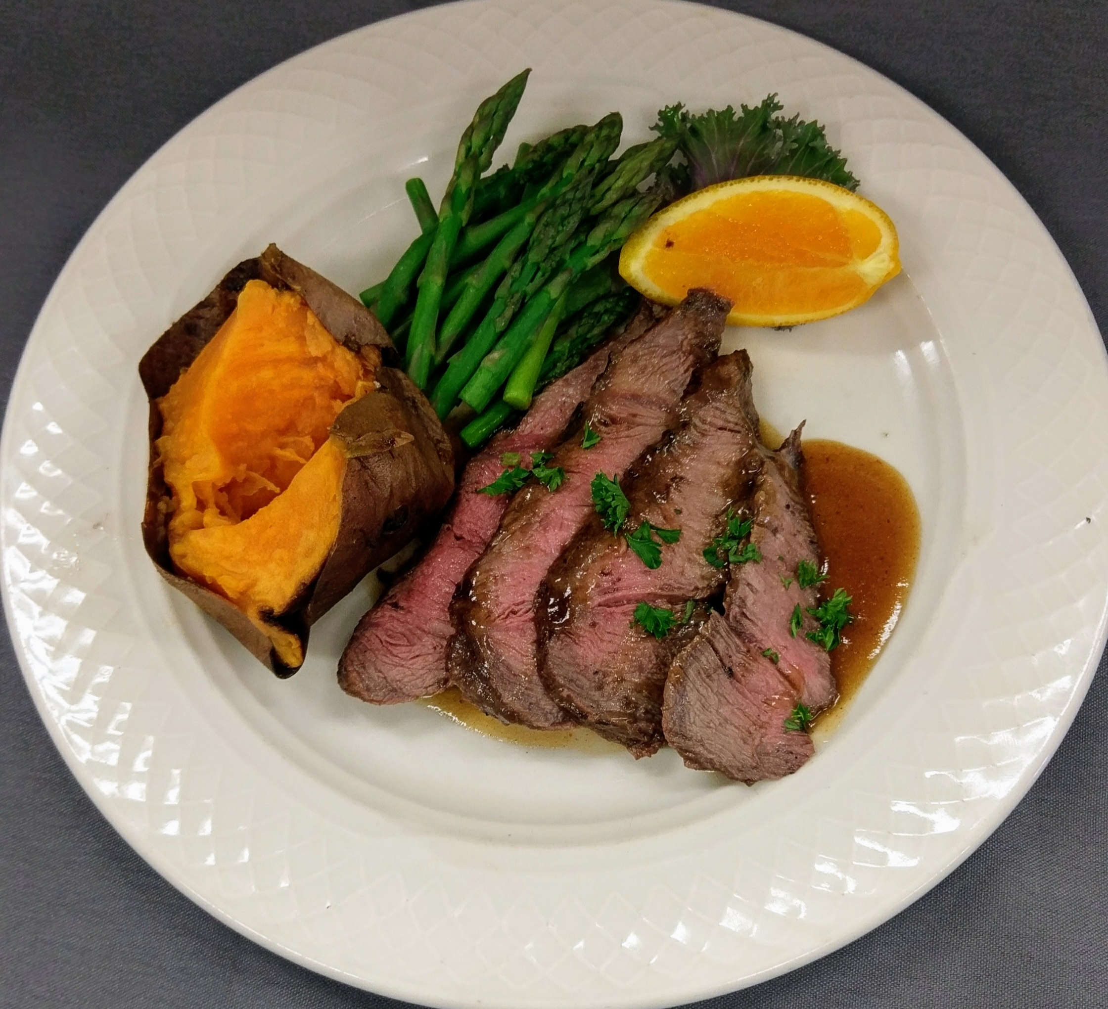 Grilled flat iron steak, gluten-free dish