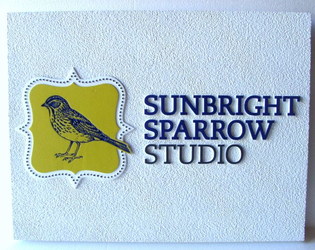 "SA28419 - SandstoneTexture HDU Sign for ""Sunbright Sparrow Studio"" with Engraved Sparrow as Artwork"