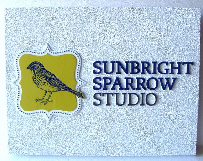 "SA28419 - SandstoneTexture HDU Sign for ""Sunbright Sparrow Studio"" with Engraved Sparrow as Artwork"