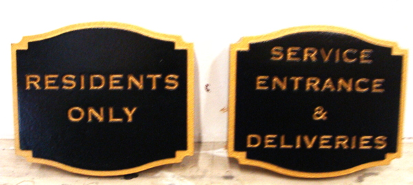 "T29408-  Carved and Sandblasted  HDU Office Signs (""Residents Only"" and ""Service Entrance"")"