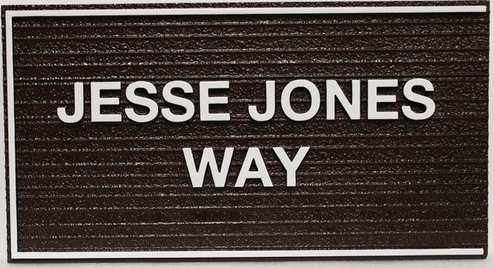 H17078 - Carved and Sandblasted Wood Grain HDU Street Name Sign, Jesse James Way