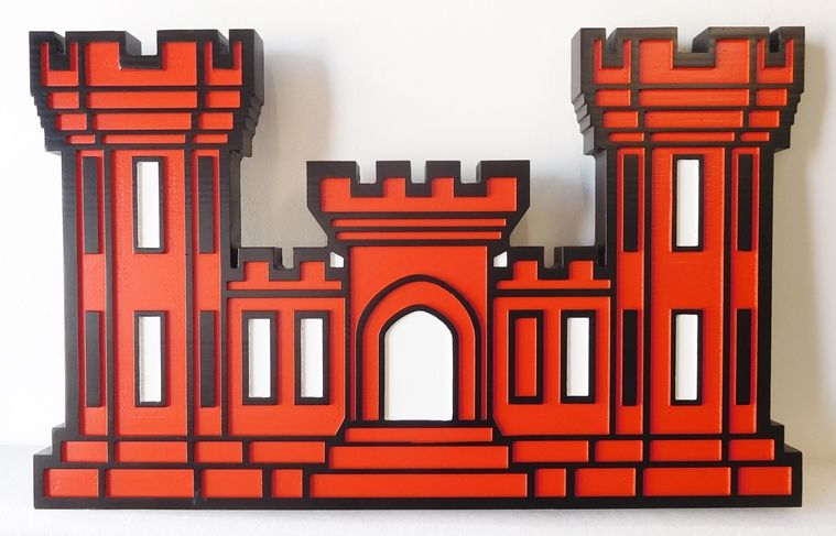 V31811 - Multi-level 2.5-D Wall Plaque for  the US Army's Corps of Engineers, featuring its Crest the Castle