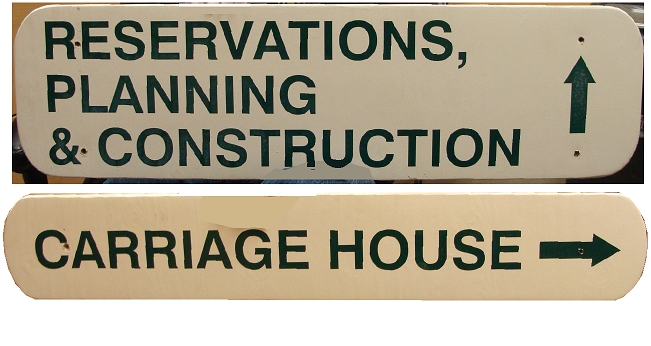 G16360 - Directional Sign with Arrow for Reservations, Carriage House