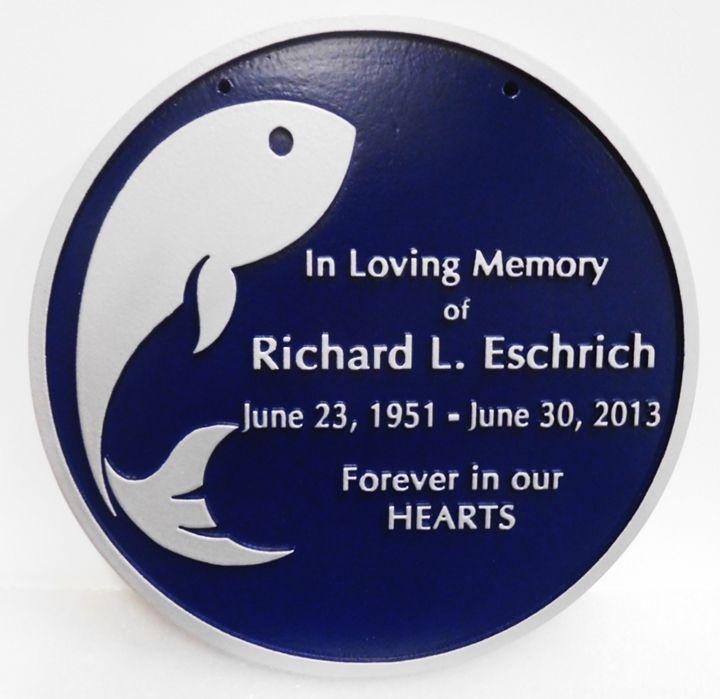 ZP-6040 - Carved Memorial Wall Plaque Honoring  Richard L. Eschrich