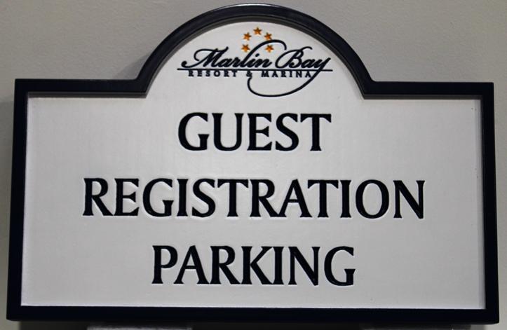 KA30712 - Engraved HDU Guest Registration Parking sign for the Marlin Bay Resort & Marina