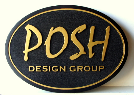 SA28306 - Oval Black & Gold Design Group Sign, Carved from HDU