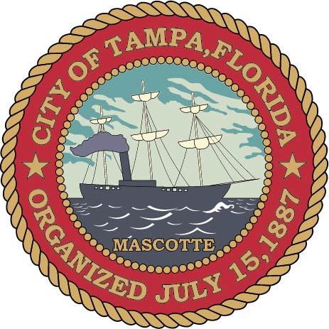 DP-2240 - Carved Plaque of the Seal of the City of Tampa, Florida, Artist Painted