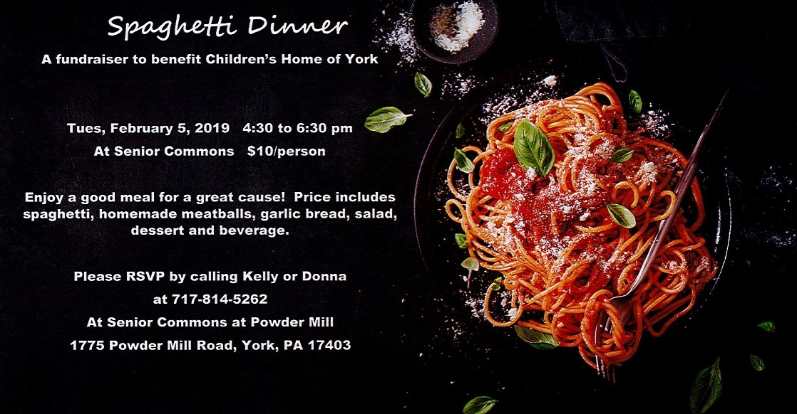 Spaghetti Dinner Fundraiser with Senior Commons at Powder Mill