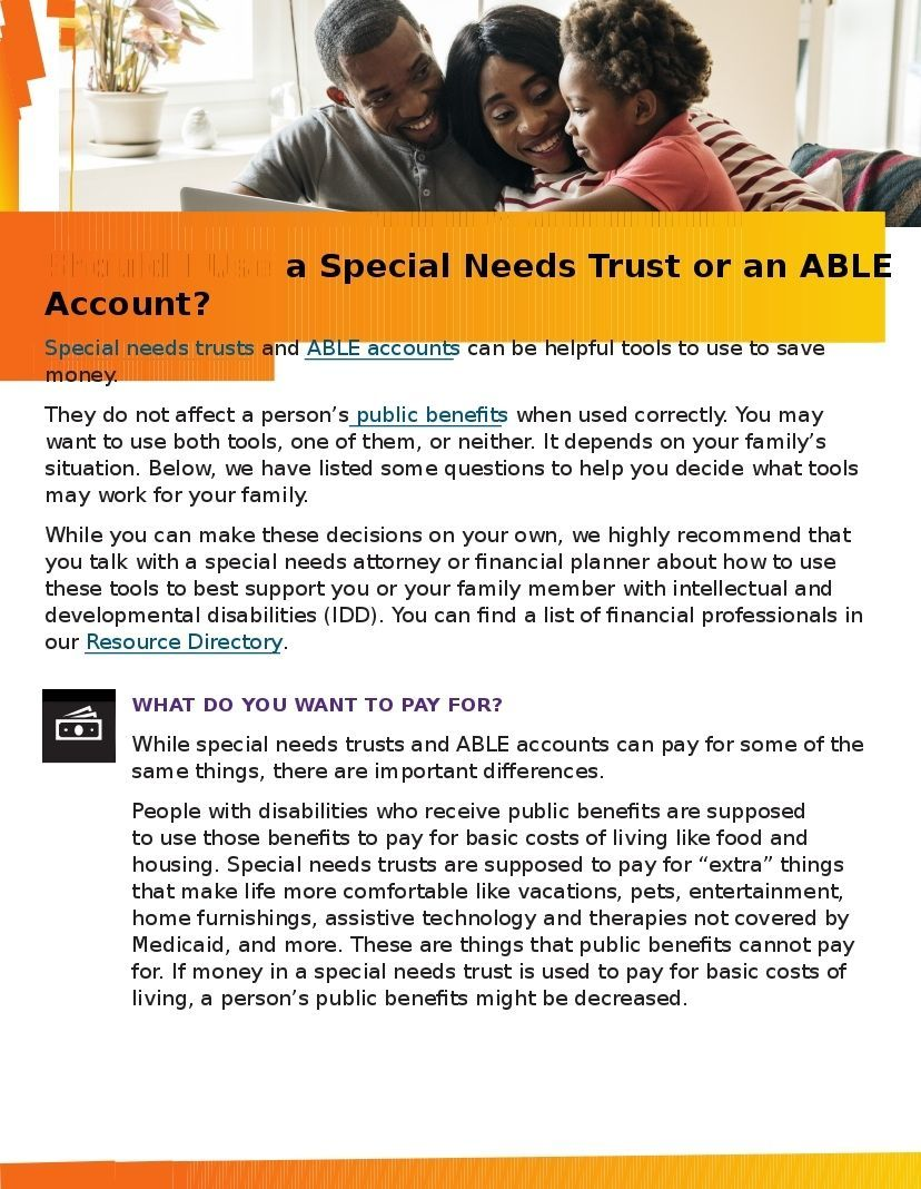 Should I Use a Special Needs Trust or an ABLE Account?