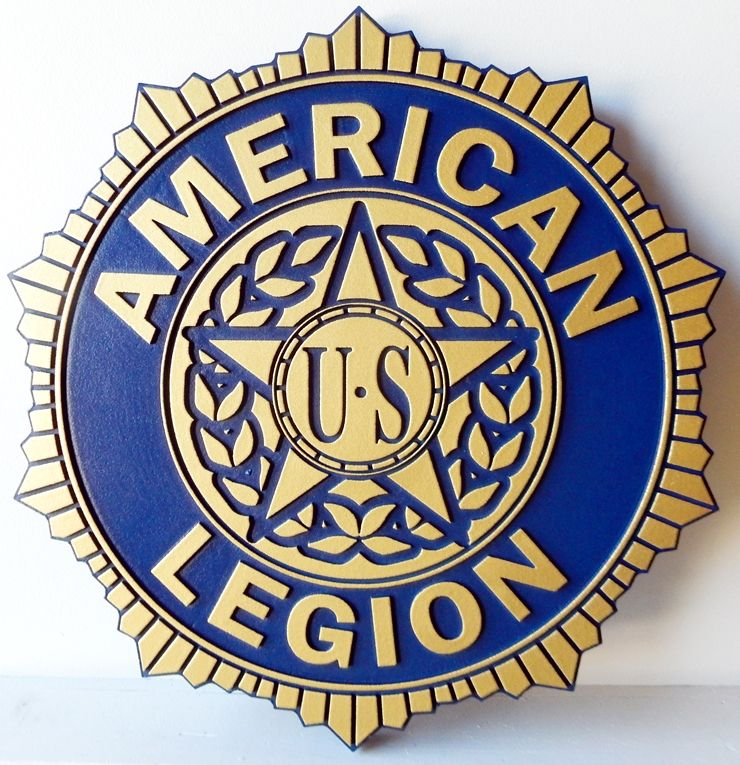 UP-1020 - Carved Wall Plaque of the Badge of the  American Legion, Artist Painted