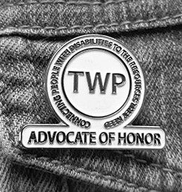 Closeup shot of TWP Advocate of Honor pin