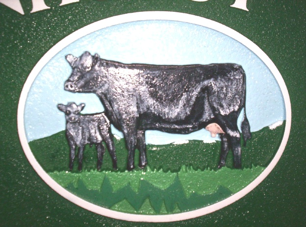 O24114- - Close Up View of Farm Sign with Cow and Calf