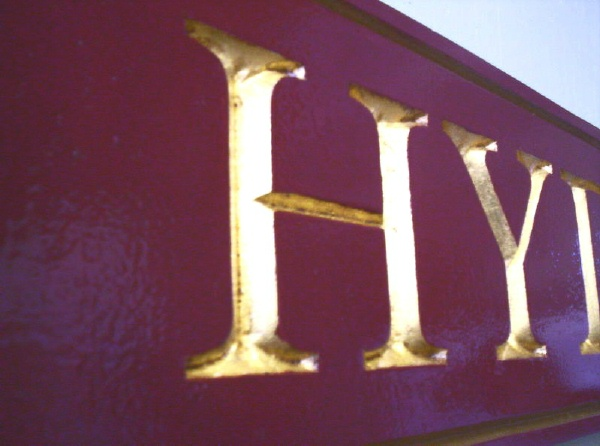 I18162 - Closeup of V-Carved (Prismatic) Lettering, Gilded with 24K Gold Leaf
