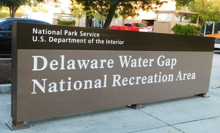 G16023- Large Engraved  Cedar Wood Entrance Sign for the Delaware Water Gap National Recreational Area (DEWA)