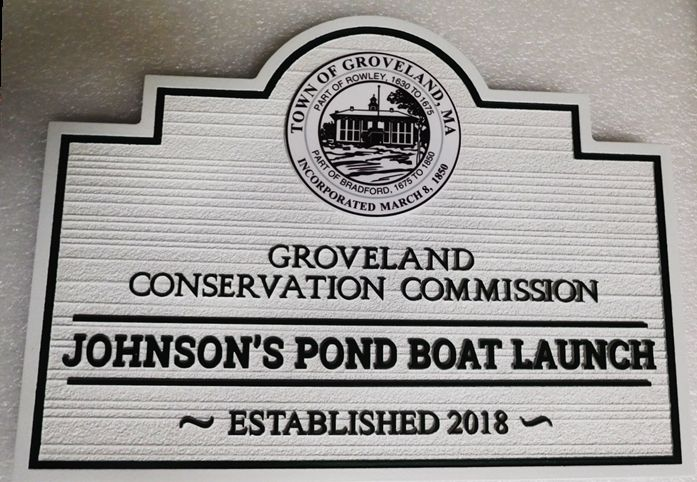 GA16501 - Carved  Entrance Sign  for Johnson's Pond Boat Launch Park, with Engraved Seal of Groveland, MA