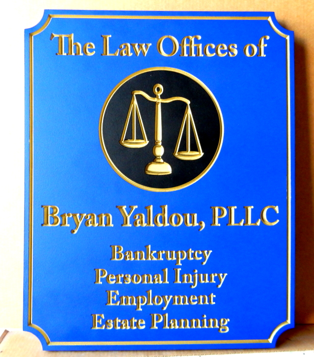 A10009 - Elegant Engraved Law Office Sign with Carved 3D Scales of Justice, Gold-Leaf