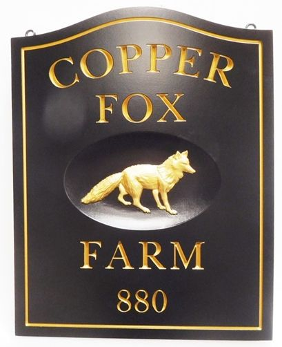 """O24615 - Carved HDU Name & Address Sign for  """"Copper Fox Farm"""", 3-D  Fox and Engraved Gold-Leaf Gilded Text and Border"""