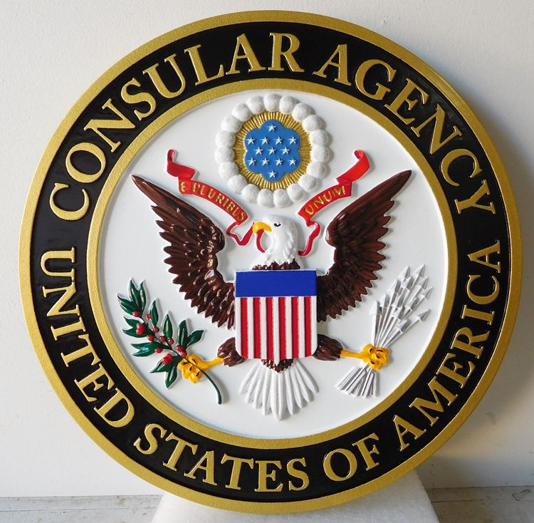 U30308 - Carved 3-D HDU Wall Plaque for the Seal of the US Consular Agency