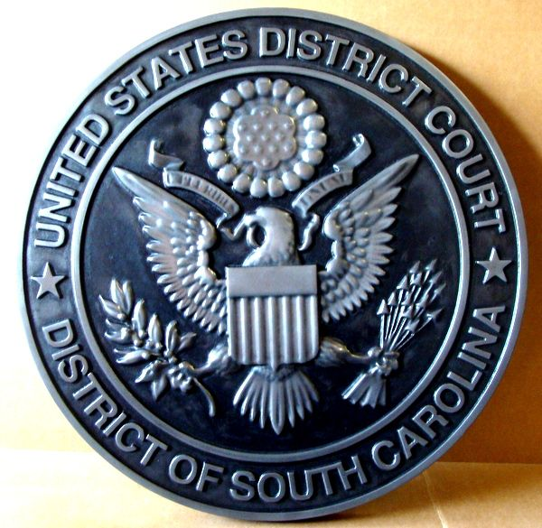 U30148 - Carved 3-D Silver-Nickel  Courtroom Wall Plaque of the Seal for the US District Court, South Carolina