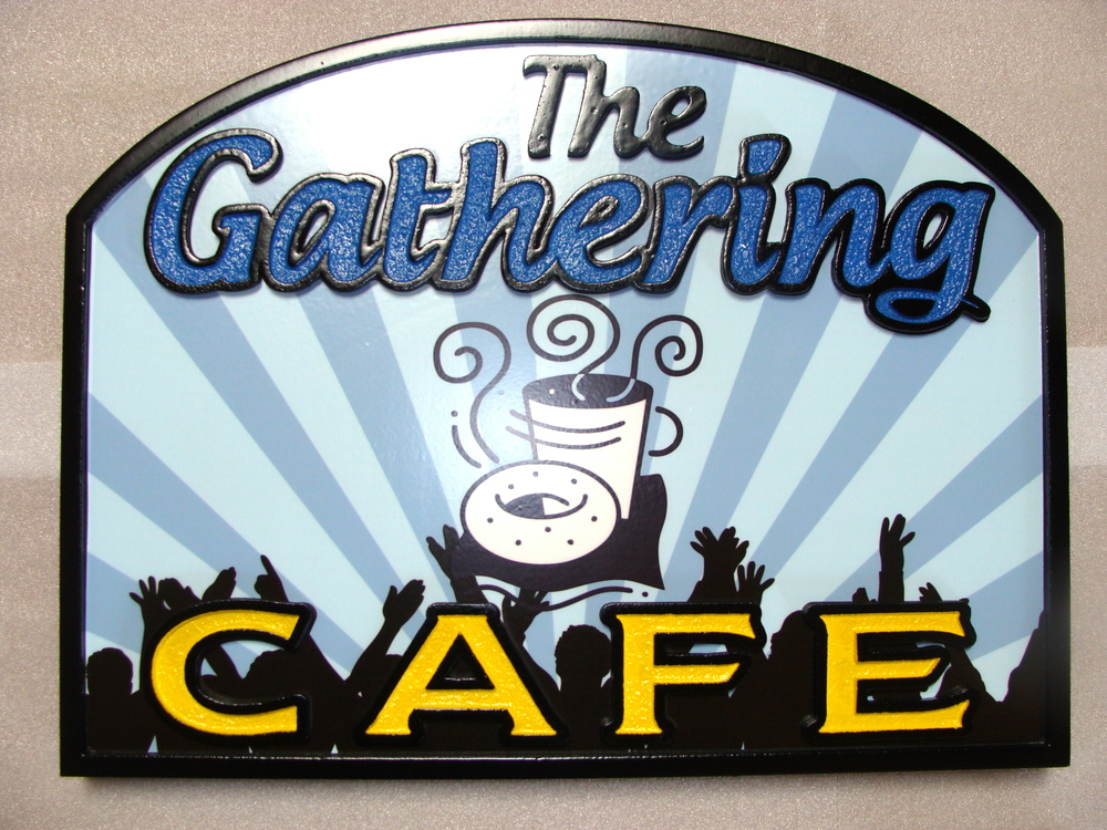 "Q25601 - Carved HDU Sign for ""The Gathering Cafe"" with Carved Coffee Cup and Donut, Silhouette of People"