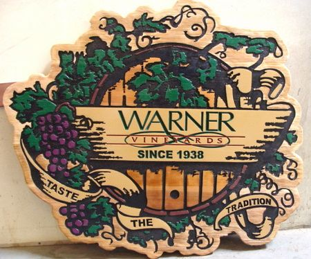 "M3032 - Carved Wood Winery Sign with Wine Barrel  and Grape Clusters ""Warner Vineyards"" (Gallery 26)"