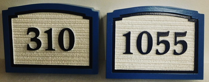 KA20905 - Carved HDU Street Number Address Signs, with  Wood Grain Texture